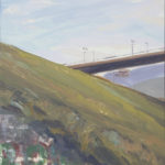 Vía de tren en el puente a lo lejos - 25,8x20cm