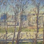 Industria en La Llagosta detrás de los árboles - 50x60cm