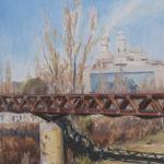 Puente de metal y la Camp a lo lejos - 100x60cm