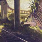 Plantas, raíles y el puente